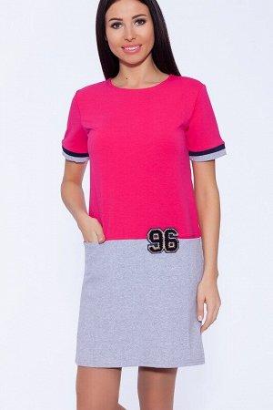 Платье Цвет: Фуксия/серый.  Состав: Хлопок 70%, Полиэстер 25%, лайкра 5%