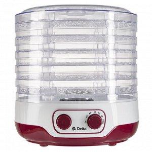 Сушилка для овощей и фруктов электрическая 250 Вт, 8 л, 5 секций DL-6890 белая с малиновым