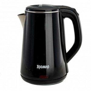 Чайник электрический 1500 Вт, 1,8 л ЯРОМИР ЯР-1059, двухслойный корпус, черный