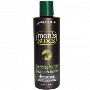 Aubrey Organics, Men&#x27 - s Stock, Шампунь, биотин и женьшень, 8 жидких унций (237 мл)