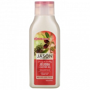 Jason Natural, Strong & Healthy Jojoba + Castor Oil Shampoo, 16 fl oz (473 ml)