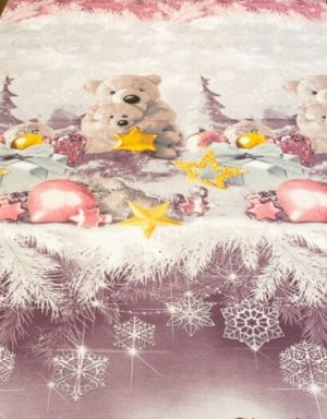 """Поплин """"Новогодние мишки"""", ш.2.2м, хлопок-100%, 110гр/м.кв, раппорт 63см"""