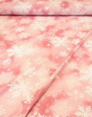 """Поплин """"Сияние снежинок на акварельно-розовом"""", ш.2.2 м, хлопок-100%"""