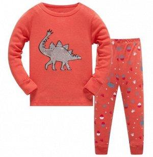 Пижама Пижама. По отзывам маломерит, можно взять на 1 размер больше. Динозавр из пайеток. 2Т(90 см) 3Т(95 см) 4Т(100см) 5Т(110 см) 6Т(120 см) 7Т(130 см) 8Т(140 см)