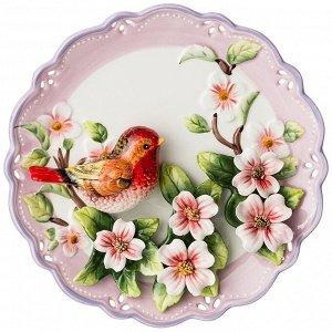 Тарелка настенная декоративная 'птица' диаметр=20 см высота=5 см (кор=24шт.)