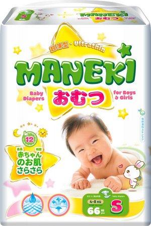 """Подгузники детские одноразовые """"MANEKI"""", размер S, 4-8 кг, 66 шт./упак"""