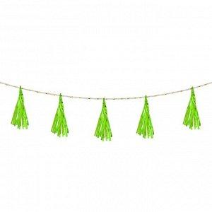 Лента тассел, набор 5 шт., цвет зелёный