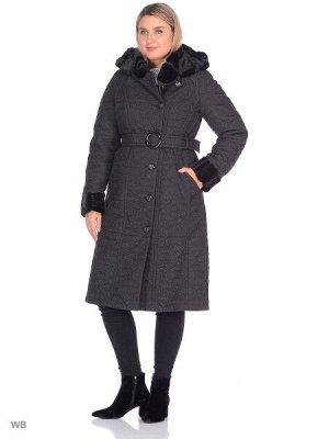 Пальто Пальто из плащевой стеганой ткани прилегающего силуэта с отделкой из искусственного меха двух видов. Воротник - стойка. Рукав полуреглан. Капюшон съемный, пристегивающийся на 6 пуговиц. Утеплит