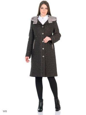 Пальто Пальто полуприлегающего силуэта из плащевой стеганой ткани двух цветов, с настроченной репсовой лентой контрастными нитками. Капюшон втачной, внутренний капюшон другого цвета. Длина рукава регу