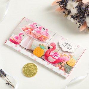 """Конверт для денег """"Сюрприз для тебя (фламинго)"""", с шок. монетой и доп. элементом, 19 х 9,5 см."""