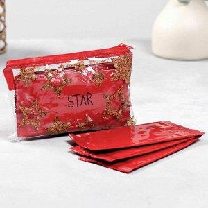 Косметичка с влажными салфетками STAR в косметичке 15,5х10 см, 10шт, красные