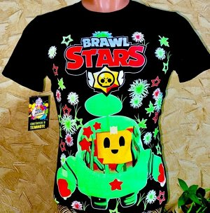 Светящаяся футболка «Brawl stars»  черная