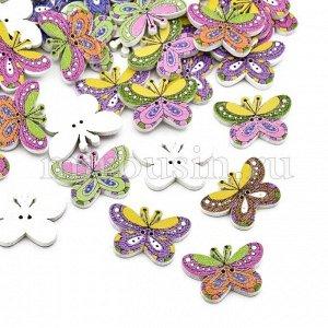 Пуговицы Деревянные Окрашеные, 2-отверстия, Бабочки, Цвет: Микс, Размер: 25x17x2мм, Отв-тие: 1мм, (УТ100009606)