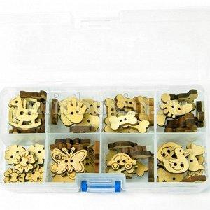 Пуговицы Деревянные Микс, 2-отверстия, Цвет: Бежевый, Размер: 14~23x10~22x3~3.5мм, Отв-тие: 1~2мм, около 80шт/упаковка (УТ100009527)