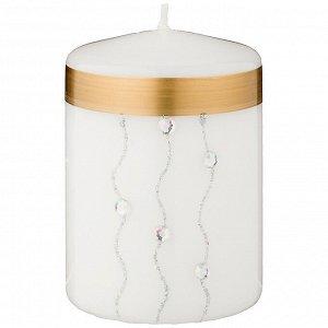 Свеча декоративная столбик 'волшебное сияние' white диаметр 7 см высота 9,5 см