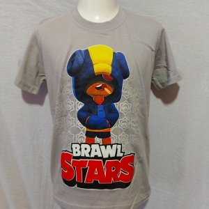 Светящаяся футболка «Brawl stars» Лион серая