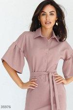Розовое платье-мини в рубашечном стиле