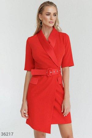 Алое асимметричное платье-жакет