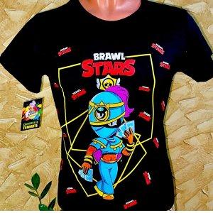 Светящаяся футболка «Brawl stars»  Тара черная