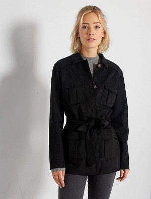 Куртка из искусственной замши с поясом