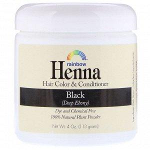 Rainbow Research, Хна, краситель и кондиционер для волос, черный, 113 г (4 унции)
