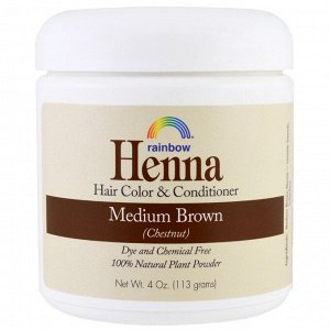 Rainbow Research, Хна, краска и кондиционер для волос, средне-коричневый (каштан), 113 г (4 унции)