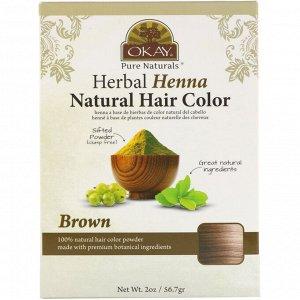 Okay Pure Naturals, Herbal Henna Natural Hair Color, Brown, 2 oz (56.7 g)