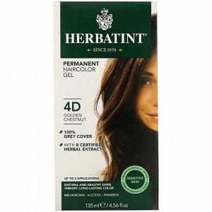Herbatint, Permanent Haircolor Gel, 4D, Golden Chestnut, 4.56 fl oz (135 ml)
