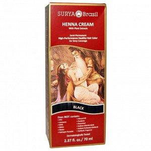 Surya Brasil, крем с хной, краска и кондиционер для волос, черный цвет, 70 мл (2,37 жидкой унции)