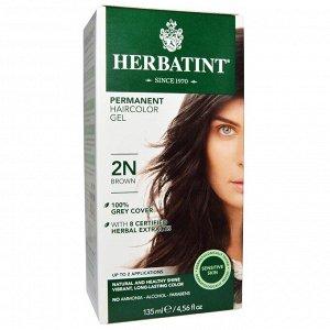 Herbatint, Перманентная гель-краска для волос, 2N, коричневый, 135 мл