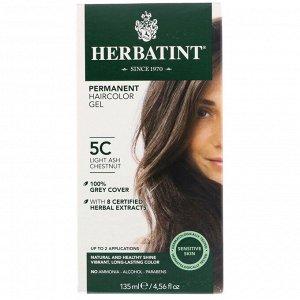 Herbatint, Перманентная гель-краска для волос, 5C, светлый пепельный каштан, 135 мл (4,56 жидк. унции)