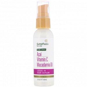 Petal Fresh, Pure, SuperFoods for Hair, Color Shield Leave-In Hair Serum, Acai, Vitamin C & Macadamia Oil, 2 fl oz (60 ml)