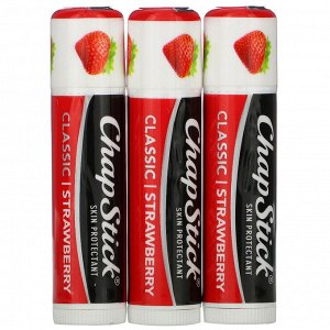 Chapstick, Защитный бальзам для губ, «Классическая клубника», 3 тюбика по 4 г