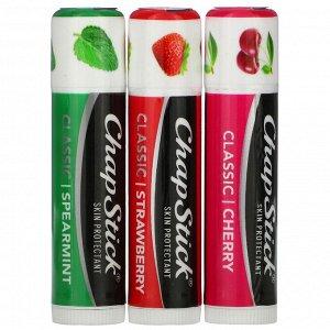 Chapstick, Защитный бальзам для губ, классическая коллекция, 3 тюбика по 4 г