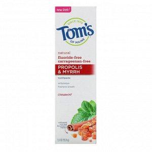 Tom&#x27 - s of Maine, Natural Antiplaue, Propolis & Myrrh Toothpaste, Fluoride-Free , Cinnamint, 5.5 oz (155.9 g)