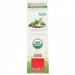 RADIUS, Органическая гелевая зубная паста, мята матча, 3 унции (85 г)