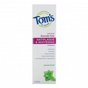 Tom&#x27 - s of Maine, Natural Fluoride-Free Antiplaque & Whitening Toothpaste, Spearmint Gel, 4.7 oz (133 g)