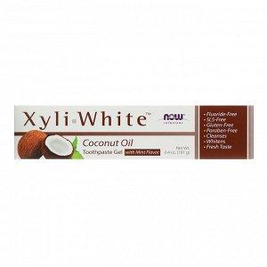 Now Foods, Solutions, XyliWhite, зубная гель-паста, с кокосовым маслом, со вкусом мяты, 181 г (6,4 унции)