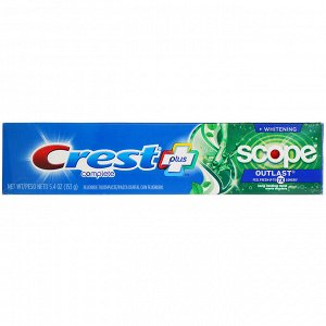 Crest, Complete, Scope, Outlast Plus Whitening, Fluoride Toothpaste, Long Lasting Mint, 5.4 oz (153 g)