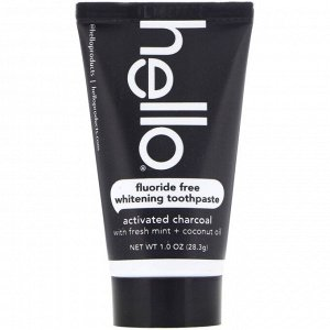 Hello, Fluoride Free Whitening Toothpaste, Activated Charcoal, With Fresh Mint & Coconut Oil, 1.0 oz (28.3 g)
