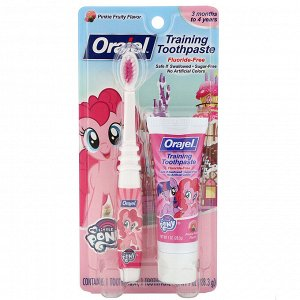 Orajel, My Little Pony Training Toothpaste with Toothbrush, Fluoride Free, 3 Months to 4 Years, Pinkie Fruity Flavor, 1 oz (28.3 g)