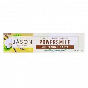 Jason Natural, Powersmile, отбеливающая зубная паста от зубного налета, со вкусом ванили и мяты, 170 г (6 унций)