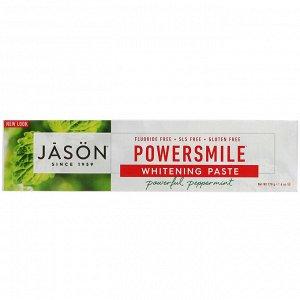 Jason Natural, PowerSmile, отбеливающая зубная паста, перечная мята, 170 г (6 унций)