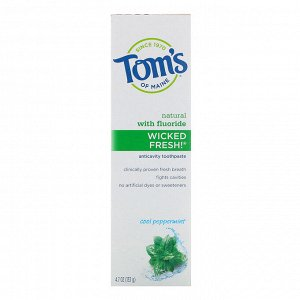 Tom&#x27 - s of Maine, Natural Anticavity, Wicked Fresh! with Fluoride Toothpaste, Cool Peppermint, 4.7 oz (133 g)