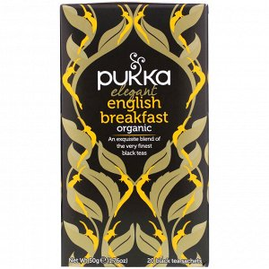 Pukka Herbs, Organic Elegant English Breakfast, 20 Black Tea Sachets, 1.76 oz (50 g)