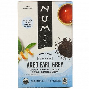 Numi Tea, Organic Black Tea, Aged Earl Grey, 18 Tea Bags, 1.27 oz (36 g)