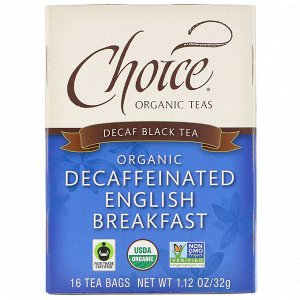 Choice Organic Teas, Black Tea, Organic Decaffeinated English Breakfast, Decaf, 16 Tea Bags, 1.12 oz (32 g)