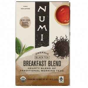 Numi Tea, Organic Black Tea, Breakfast Blend, 18 Tea Bags, 1.40 oz (39.6 g)