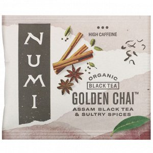 Numi Tea, Organic Black Tea, Golden Chai, 18 Tea Bags, 1.65 oz (46.8 g)