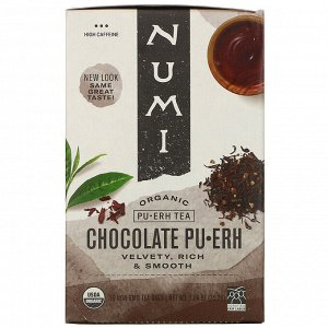 Numi Tea, Organic Pu-Erh Tea, Chocolate Pu-Erh, 16 Tea Bags, 1.24 oz (35.2 g)